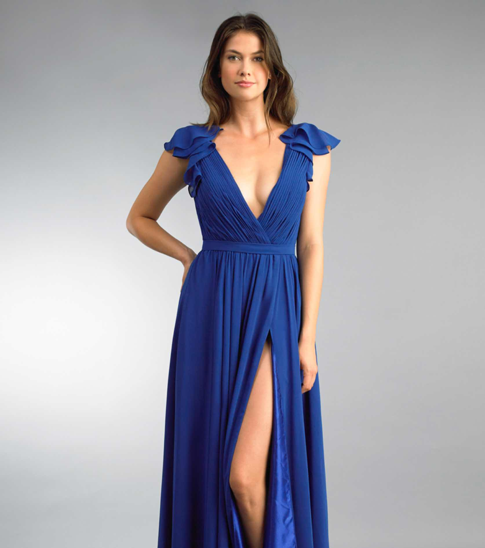 Model in blue Basix Black Label gown