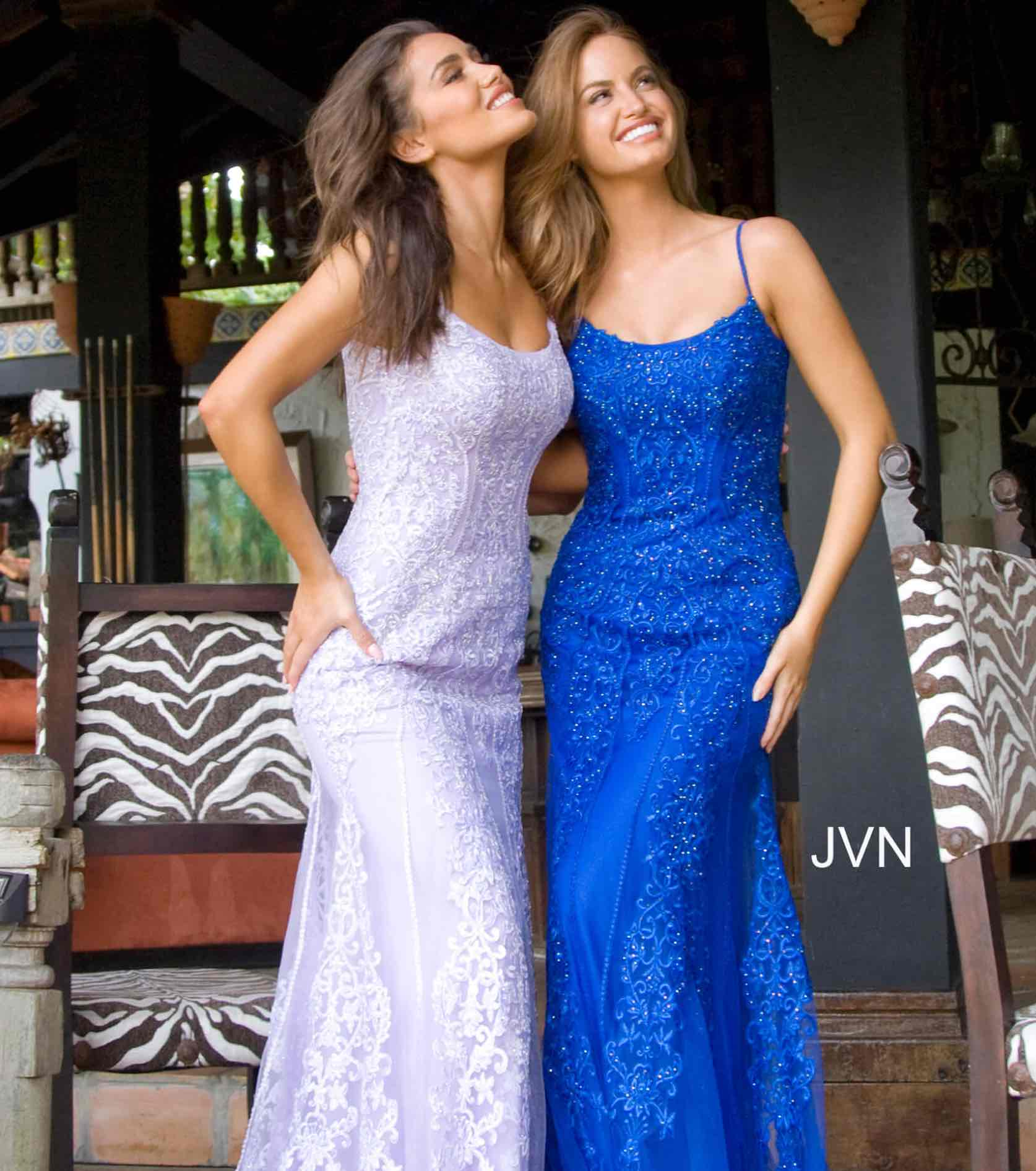 Models in light purple and blue sparkly and lace JVN by Jovani dress
