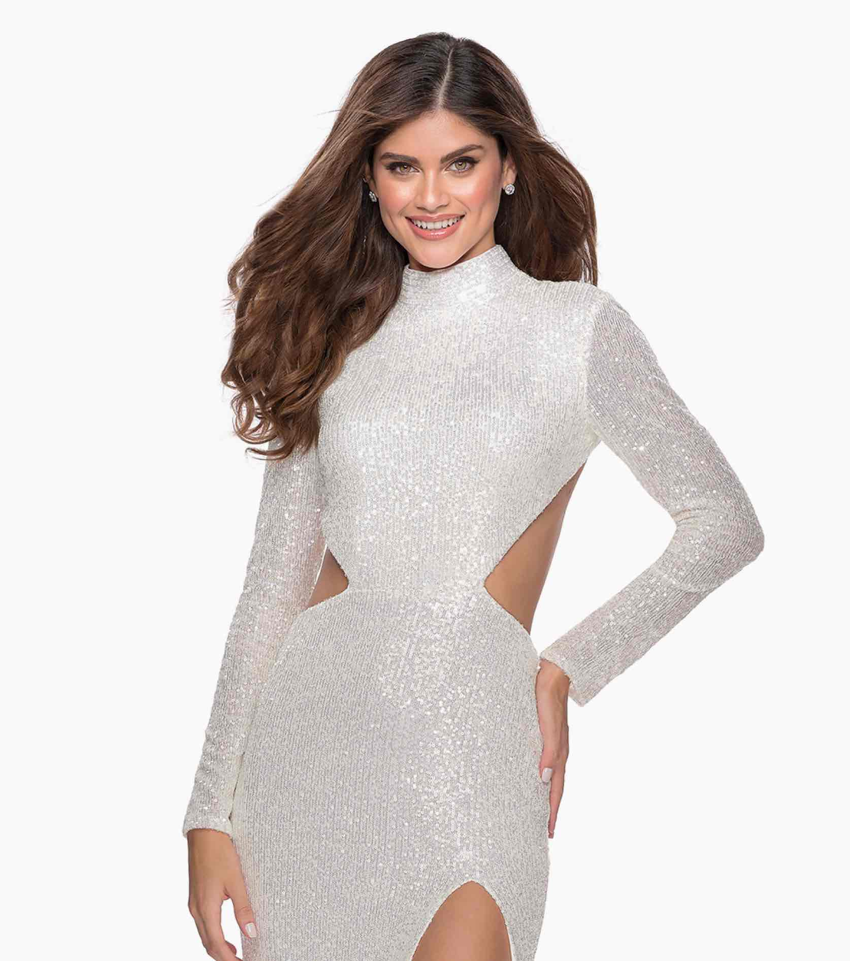Model in sparkly white La Femme dress