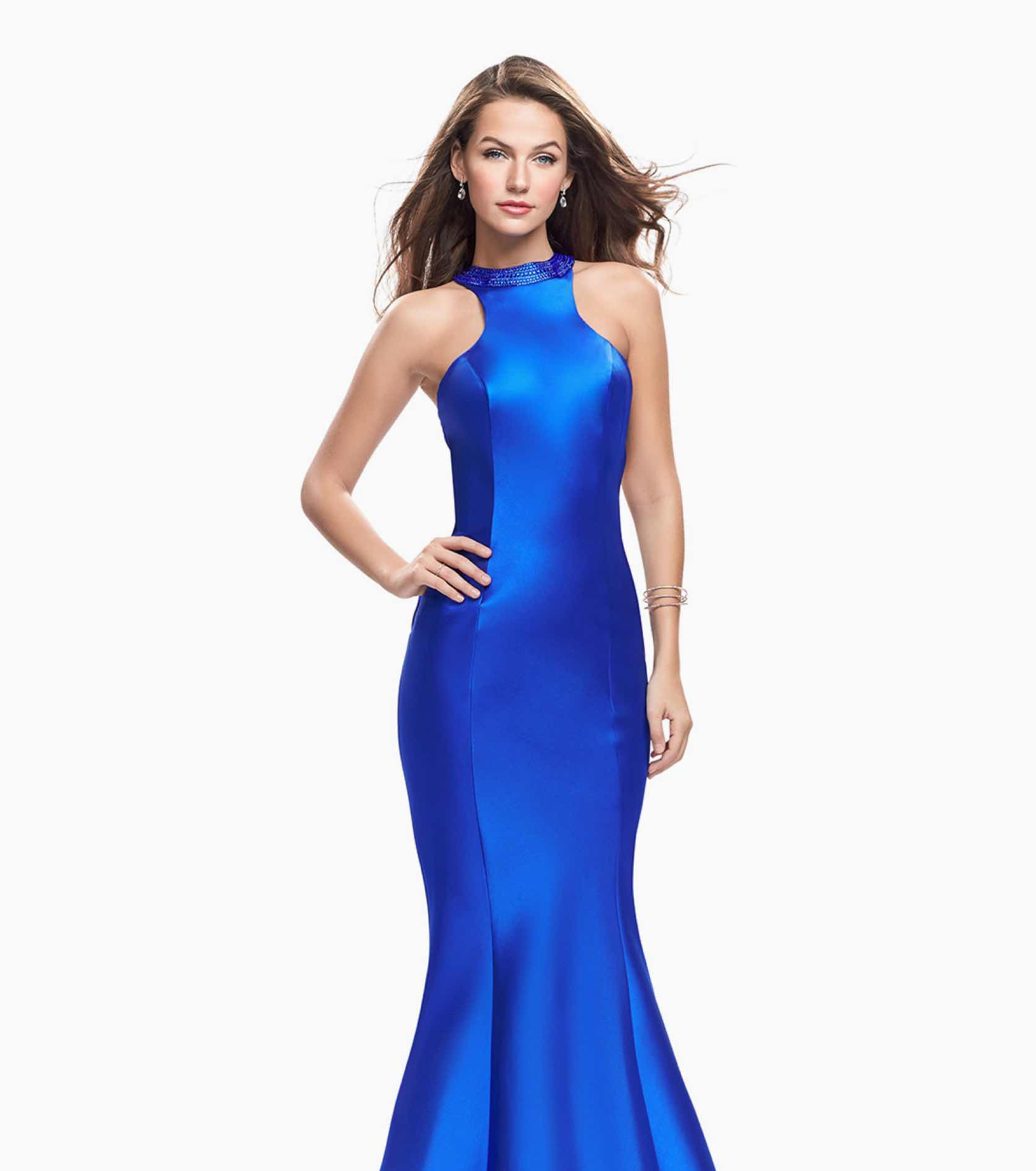 Model in blue halter top Gigi gown