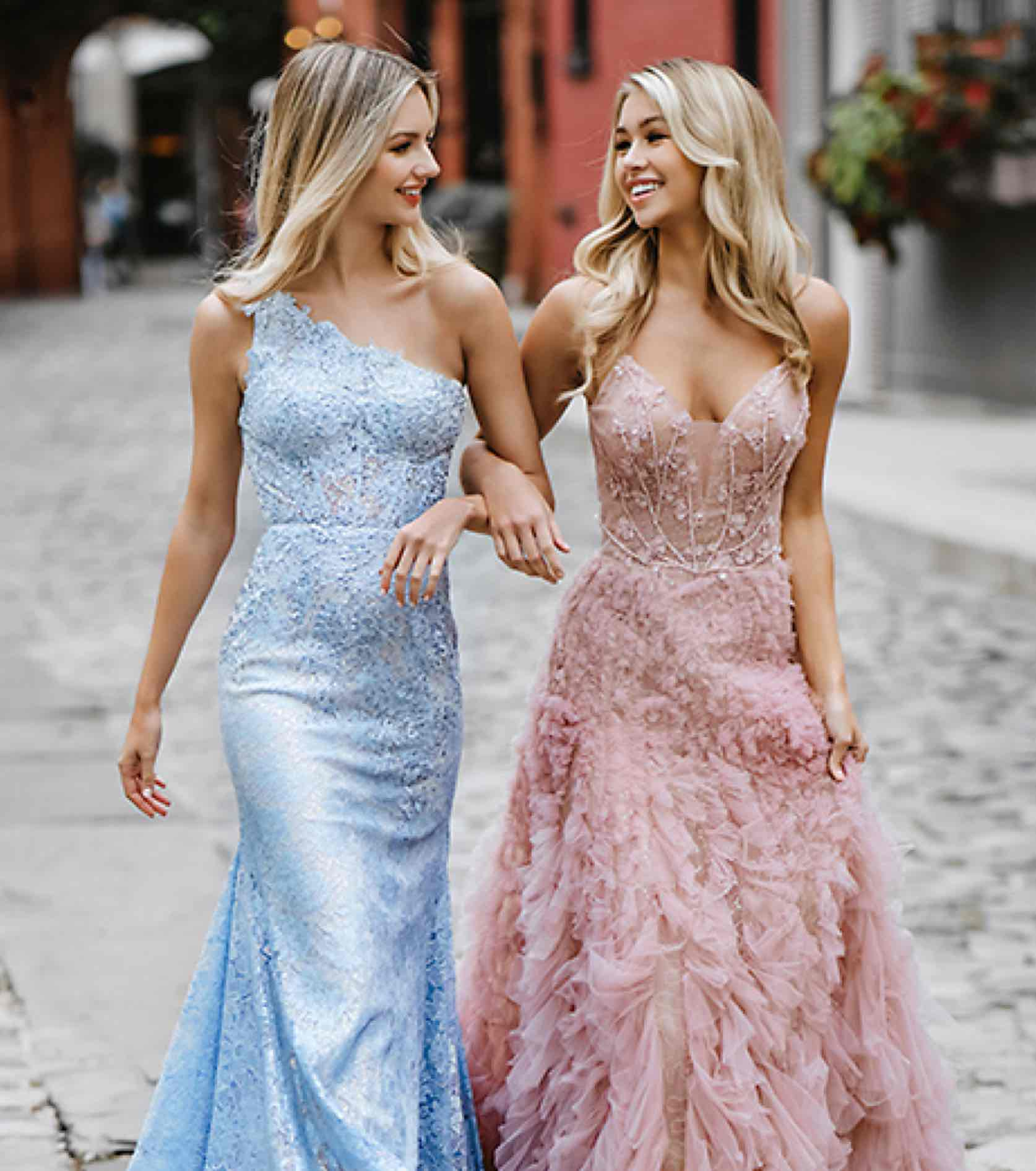 Models in shimmery beaded pink and blue Mac Duggal dress