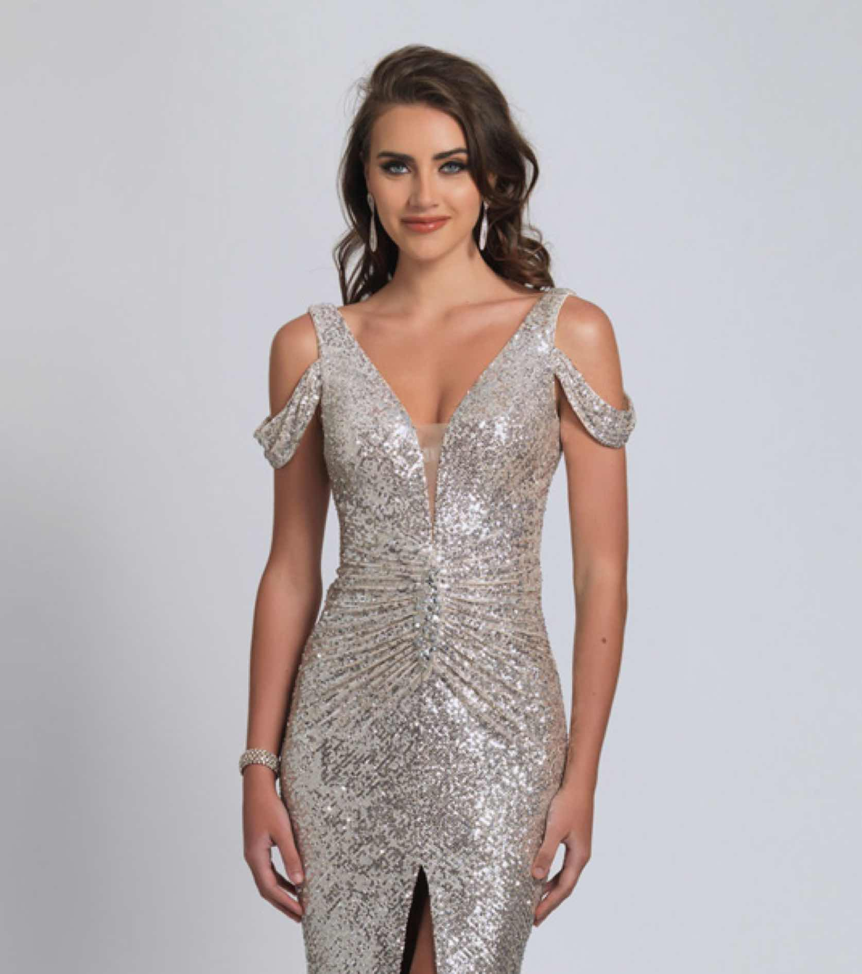 Model in silver sparkly Dave and Johnny dress