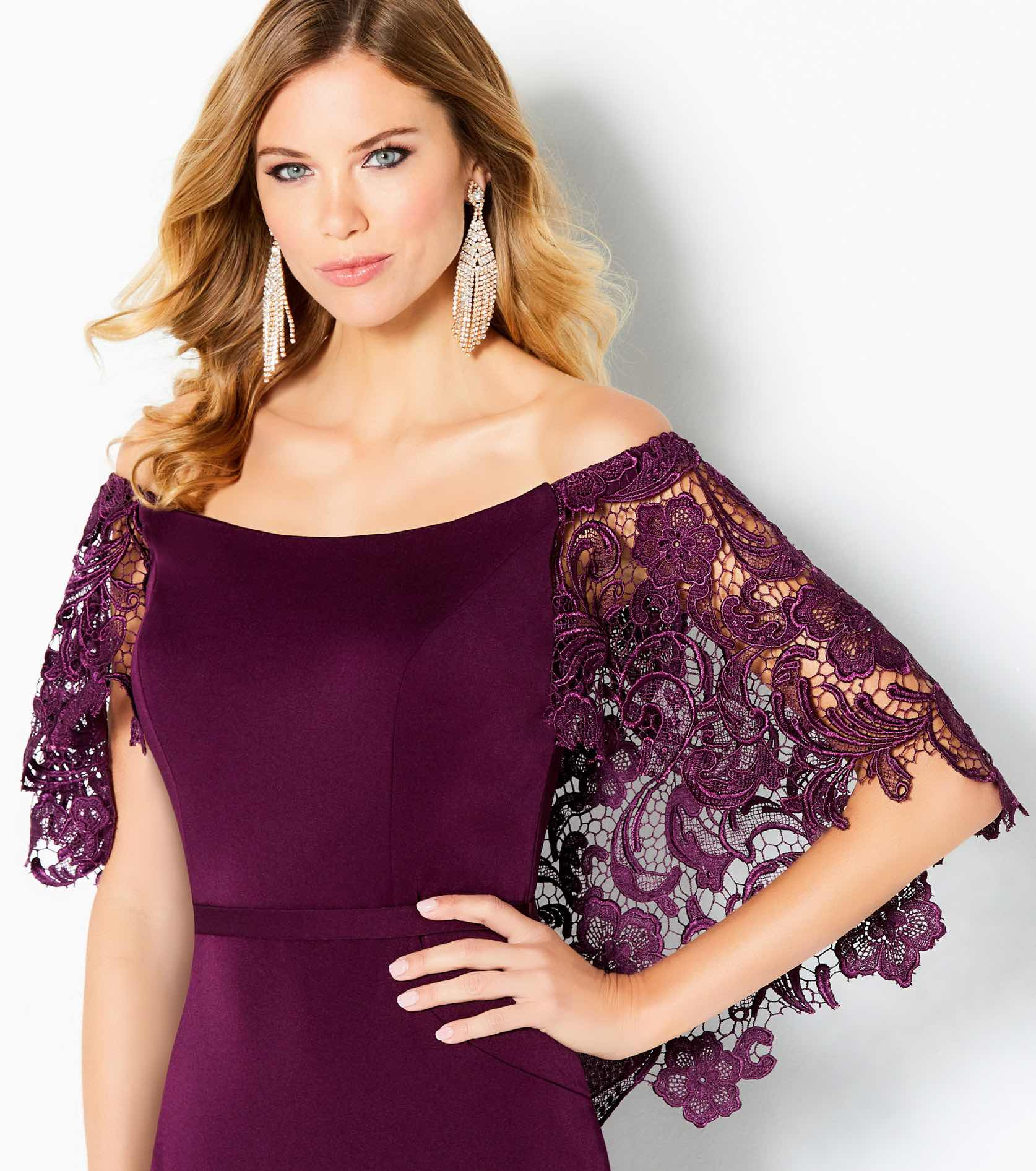 Model in plum Cameron Black dress with lace sleeves