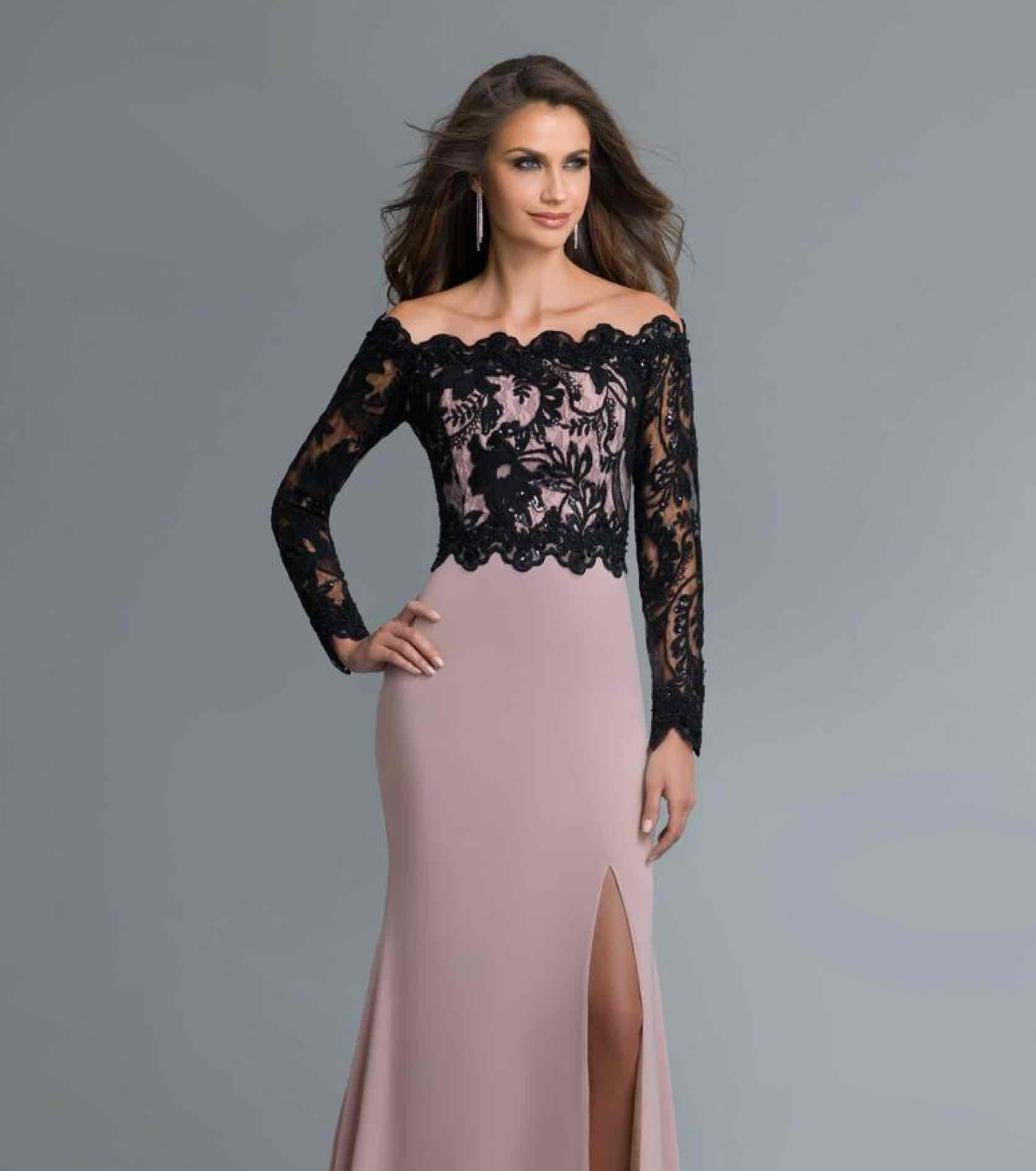 Model in pink Saboroma gown with black lace off the shoulder top