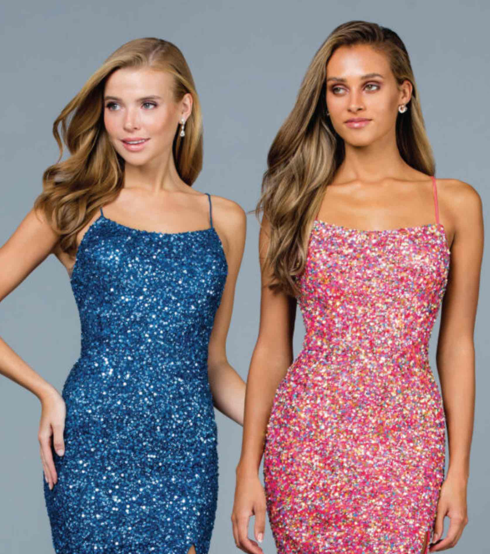 Models in sparkly sequined pink and blue Scala gowns